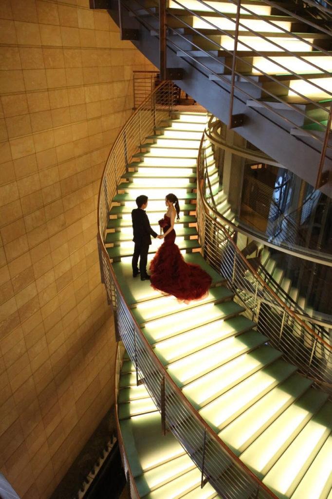 ドレスの美しさが伝わるドラマチックな一枚