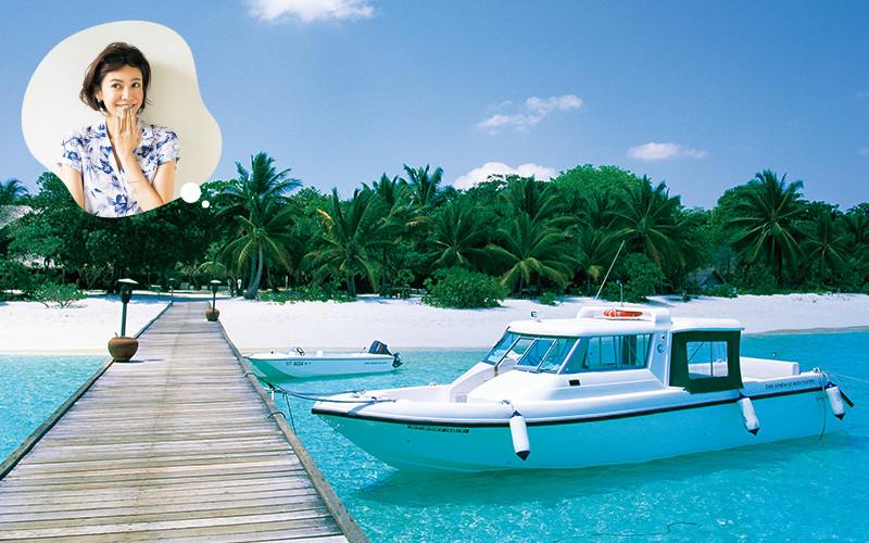 南の島のプライベートビーチで趣
