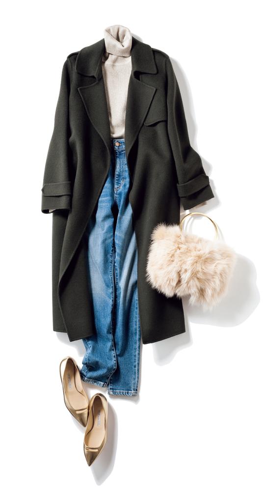 冬色モスグリーンコートを ヘル