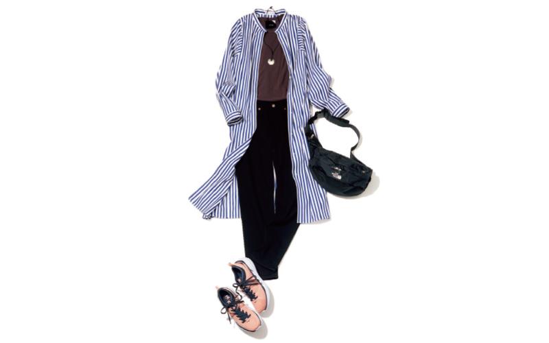ロングシャツと黒スキニーの辛さに足元のピンクスニーカーでハズしを【今日のコーデ 着回しDiary】