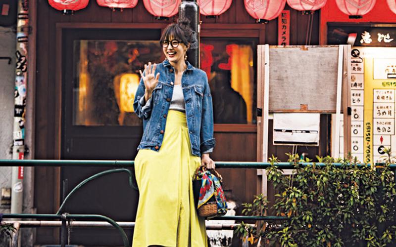 カジュアルデートにもってこい!Gジャン×キレイ色スカートの鉄板スタイル【今日のコーデ|着回しDiary】