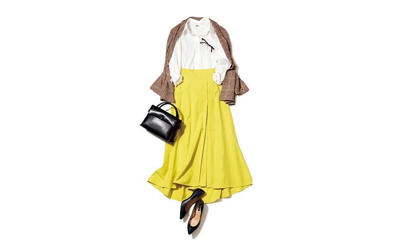 シャツ×スカートのお嬢さんコーデはおじさんジャケット合わせであかぬけ【今日のコーデ|着回しDiary】