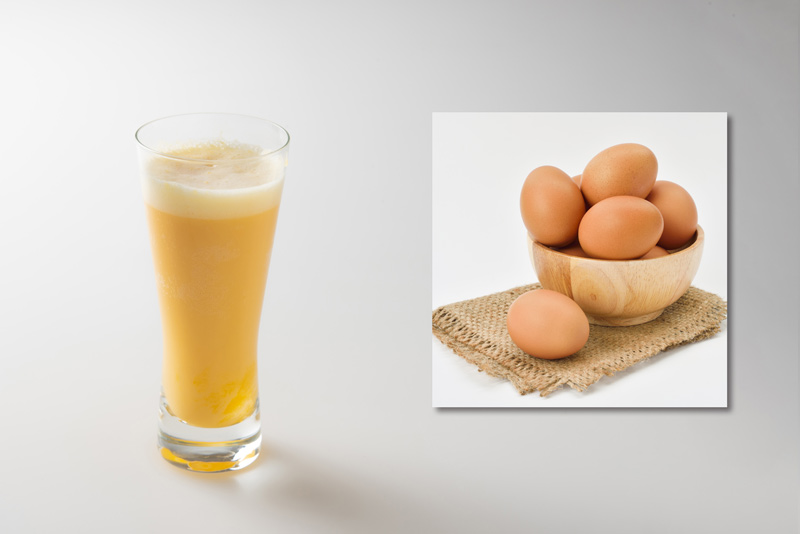 【材料】ビール、卵黄、ガムシロ