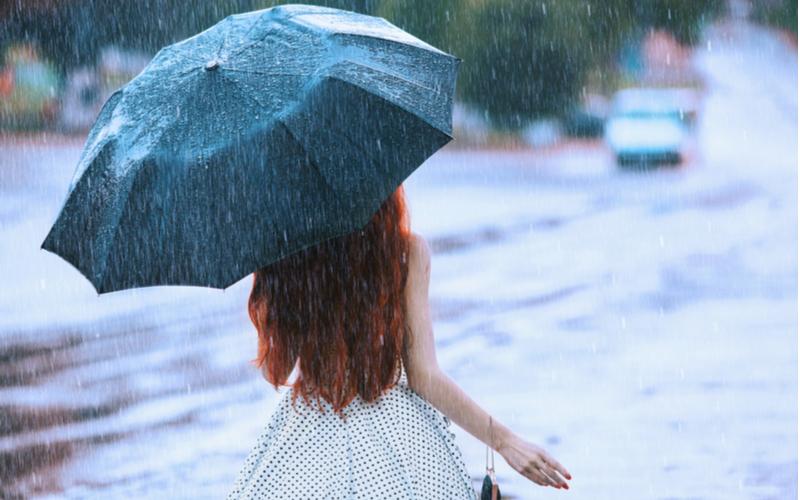 「ちょうど帰る時間に雨が降り始