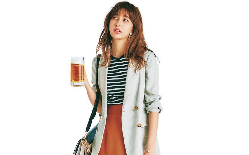 リネン風ジャケットはボーダー×カラースカートでカジュアルに【今日のコーデ|着回しDiary】