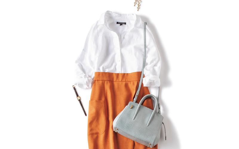 白シャツ×タイトスカート派スタッズ付きパンプスで抜こなれ感を【今日のコーデ|着回しDiary】