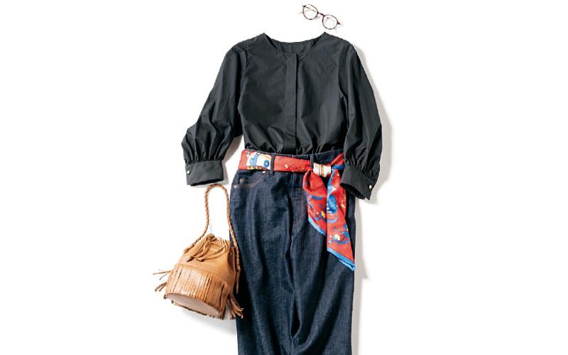 ベルト代わりのスカーフでダークトーンの服も華やかに【今日のコーデ|着回しDiary】