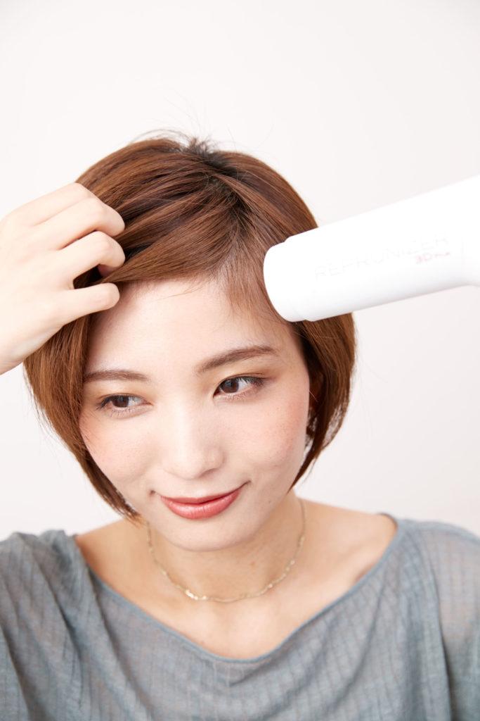 髪の乾かし方を変えると 分け目