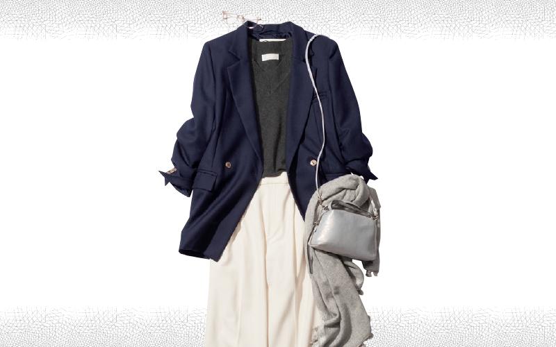 とろみのある白パンツで清潔感あふれる通勤コーデ【今日のコーデ|着回しDiary】