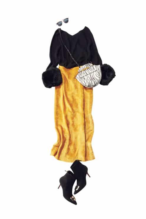 コートを羽織っても袖のファーの