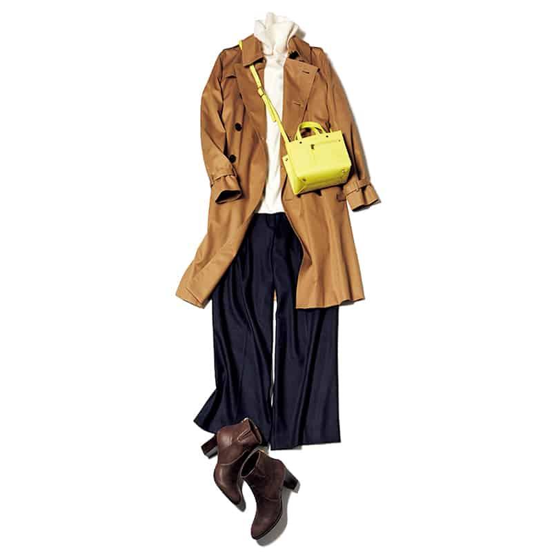 ベーシック配色の日はビタミンイエローのミニバッグがポイント【今日の着回しDiary】