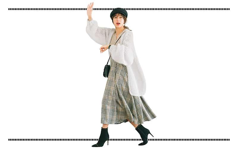 フレアスカート×ゆるカーデの日はヒールでスタイルよく【今日の着回しDiary】