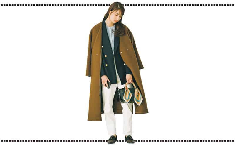 防寒とオシャレを両立!アウターの下に紺ジャケットを重ね着【今日の着回しDiary】