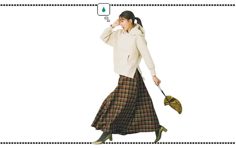 スポーティなフーディ×フレアスカートのギャップが◎!【今日の着回しDiary】