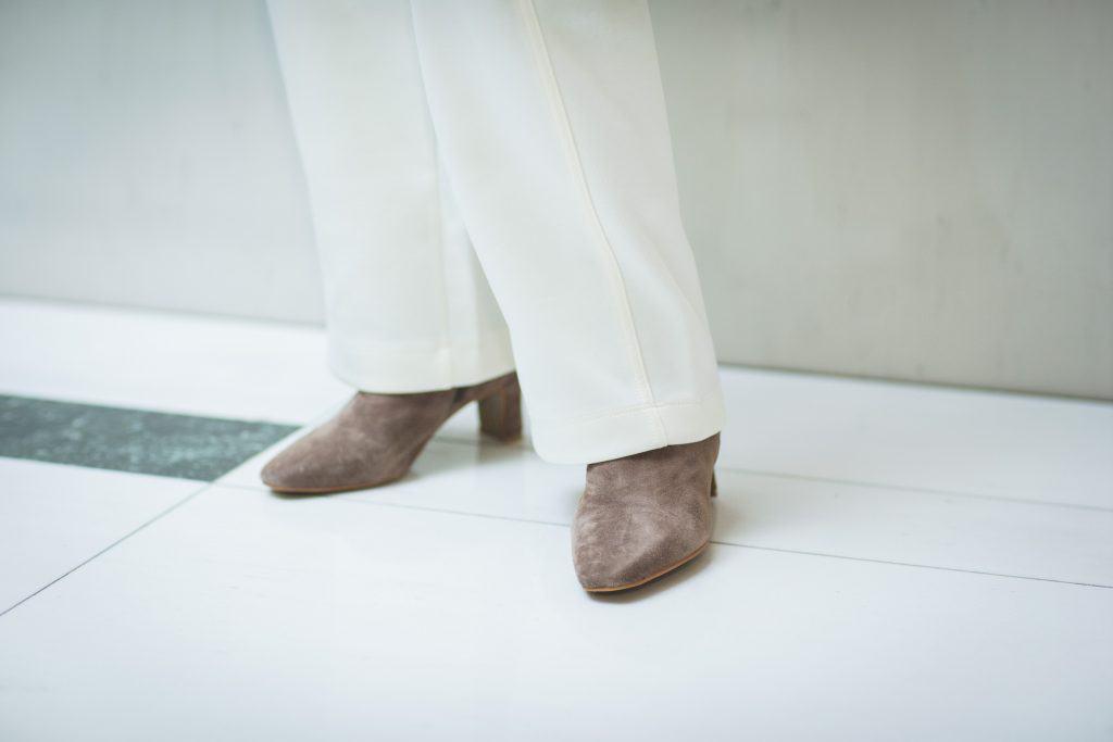 「柔らかなジャージー素材で履き
