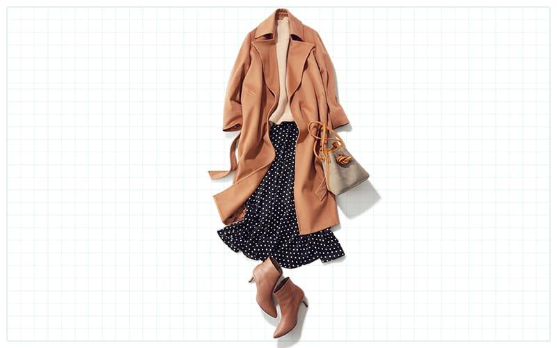 ドットのスカートは大人配色で着こなすのがカギ【真冬の着回しDiaries Part⑥】