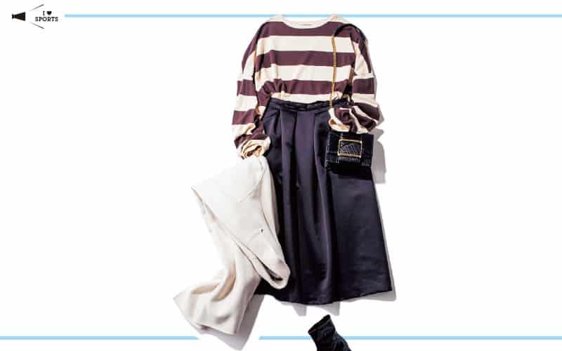 たっぷりしたフレアスカートなら一枚でキレイめコーデが完成【真冬の着回しDiaries Part①】