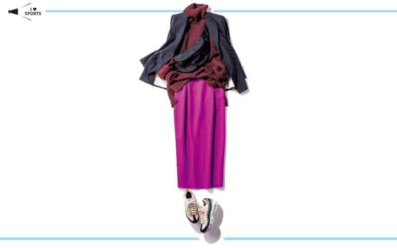 赤系のワンツーコーデ+黒ジャケットでいい女感を演出【真冬の着回しDiaries Part①】