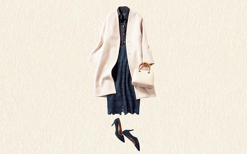 シャツ×タイトスカートも白コートを合わせれば女らしく【真冬の着回しDiaries Part②】