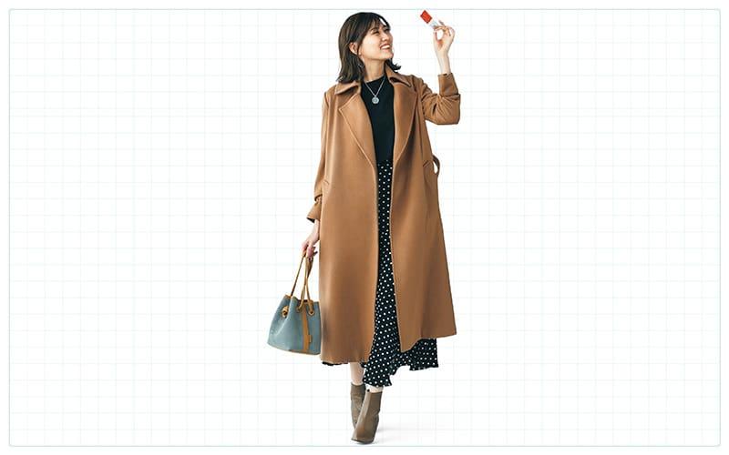 ロングコートは肩と襟元がきちんとしていればスタイルアップ【真冬の着回しDiaries Part⑥】