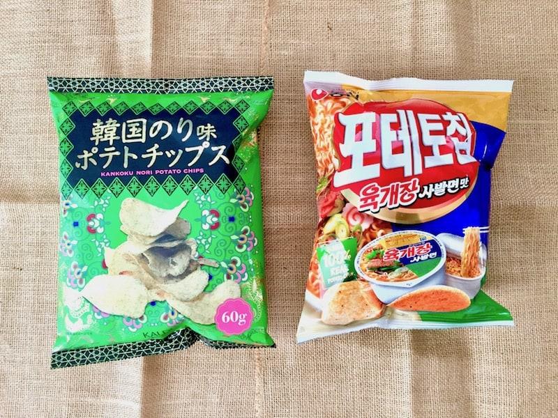 """■韓国のりと""""ユッケジャンサバル麺""""風味のチップス"""