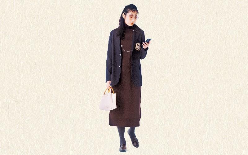 かっちりしたジャケットにはニットワンピで柔らかさを【真冬の着回しDiaries Part②】