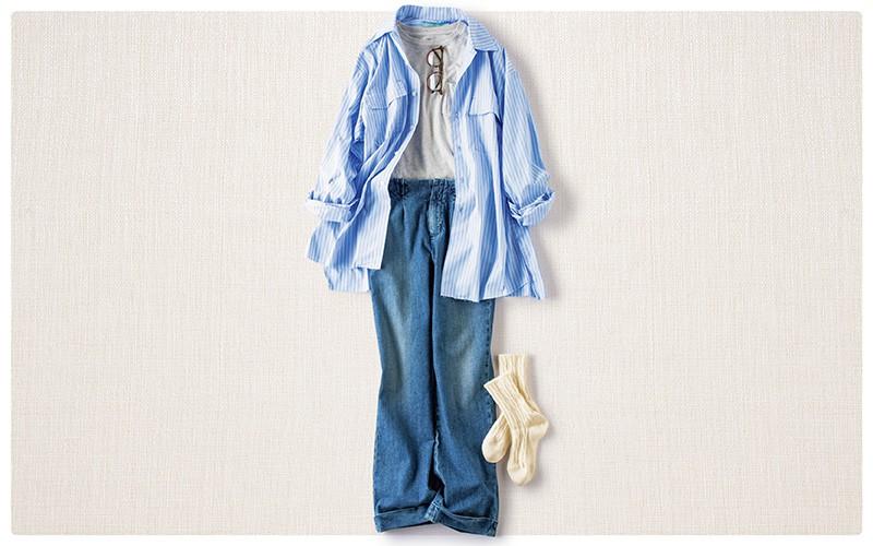 シャツとデニムのブルーで爽やか週末カジュアル【真冬の着回しDiaries Part⑤】