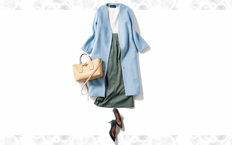 ゆるっとコート×タイトスカートが細見えを約束【今日の着回しDiary】