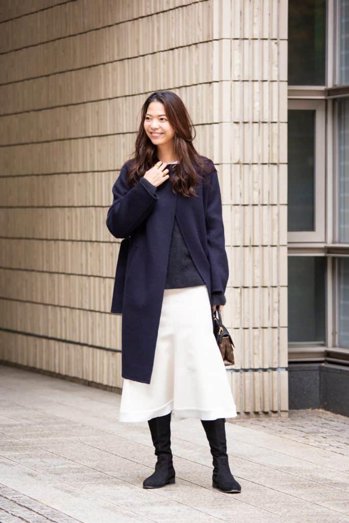 カッコいいアラサー女子は今、「モノトーンスカート」一択!【CLASSY.読者のスカートSNAP②】