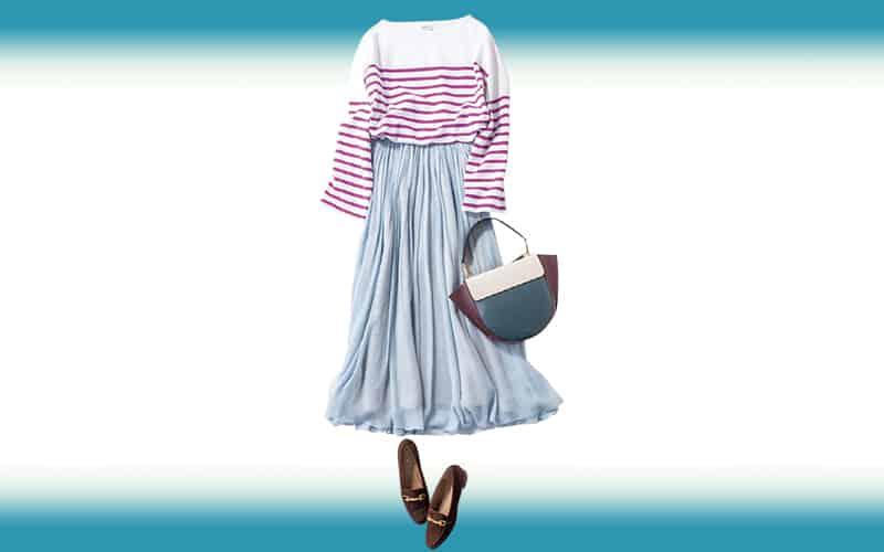 優しげな色合いのスカートならカジュアルなボーダーもキレイ目に【今日の着回しDiary】