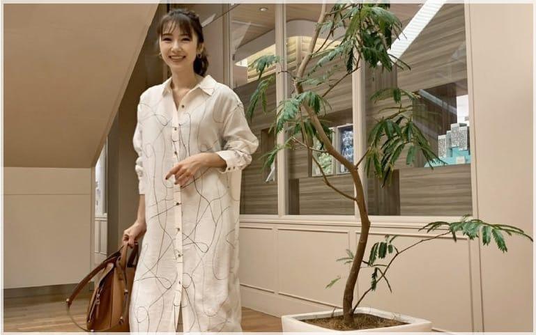 【Sサイズ女子】ワンピと靴を白でリンクしたスタイル美人な春コーデ