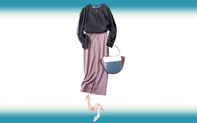 くすみパープルのスカートはバッグの色をさり気なくリンク【今日の着回しDiary】