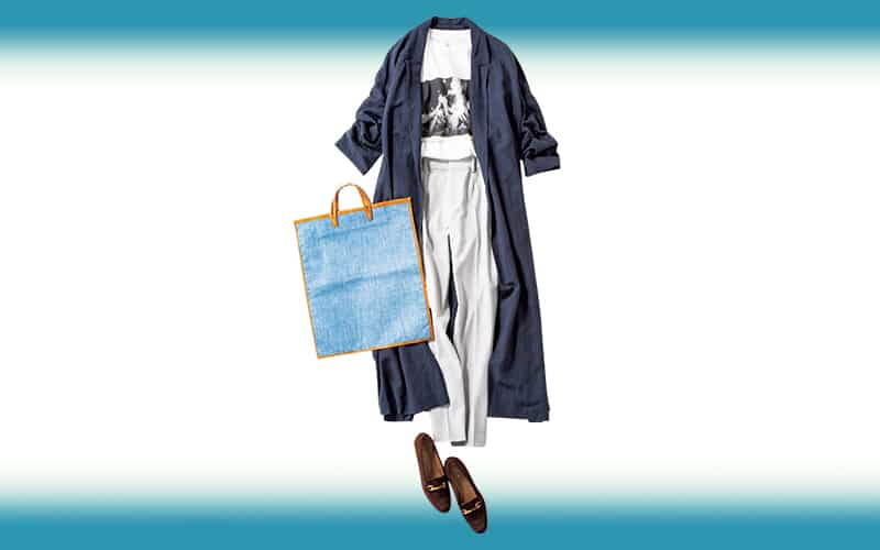 白ワントーンにネイビージャケットでハンサムな爽やかさ【今日の着回しDiary】