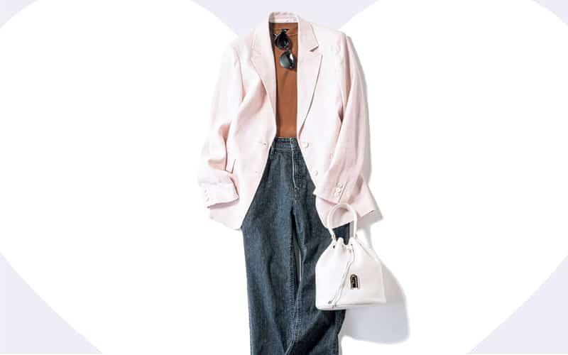 ピンクジャケットはブラウンと好相性!デニムで引き締めて【今日の着回しDiary】