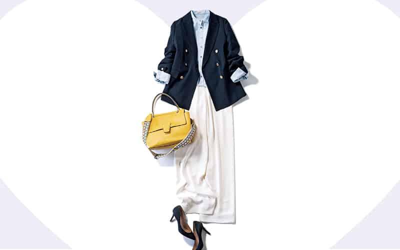 知的なネイビージャケットには爽やか配色でクリーンさを【今日の着回しDiary】