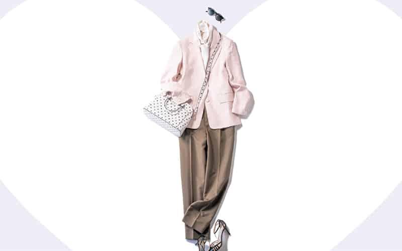 すっきりしたパンツコーデもピンクのジャケットで程よい甘さ【今日の着回しDiary】