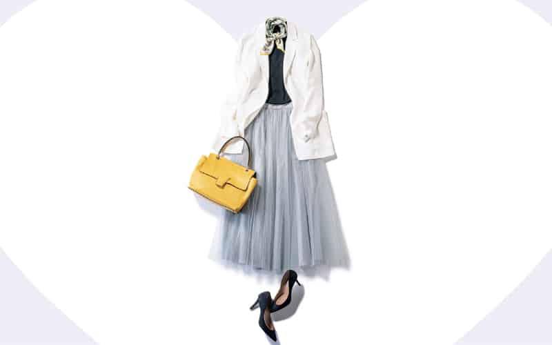 白ジャケットとチュールスカートでバツグンの女らしさを【今日の着回しDiary】