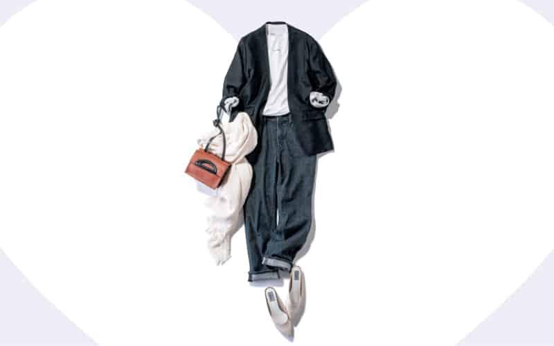デニム×Tシャツの定番もノーカラージャケットで抜け感を【今日の着回しDiary】
