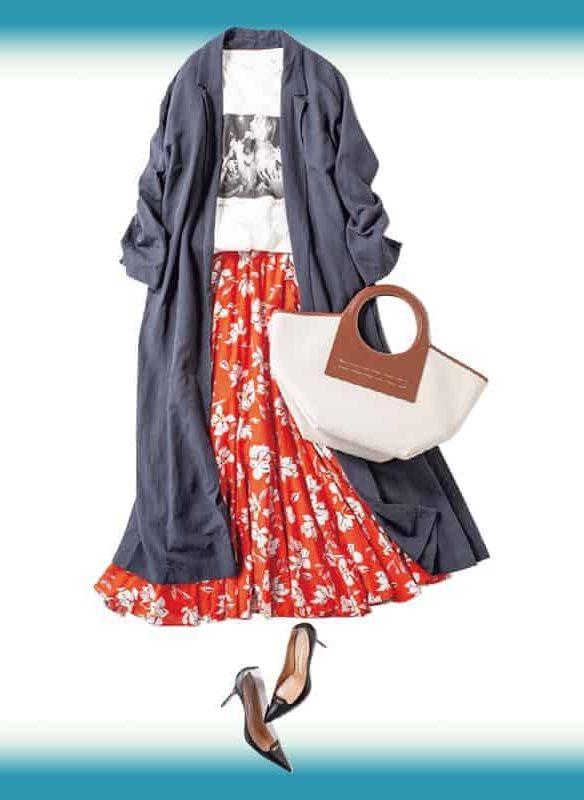 エレガントな花柄スカートは、今