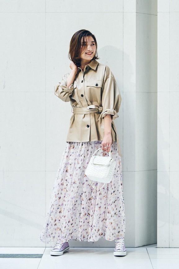 小花柄ロングスカートは、ハンサ