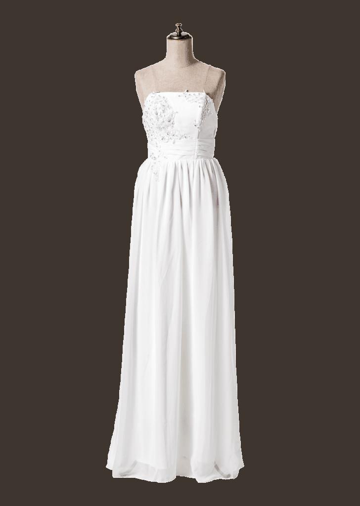 緑の中ではドレスの白をコントラ