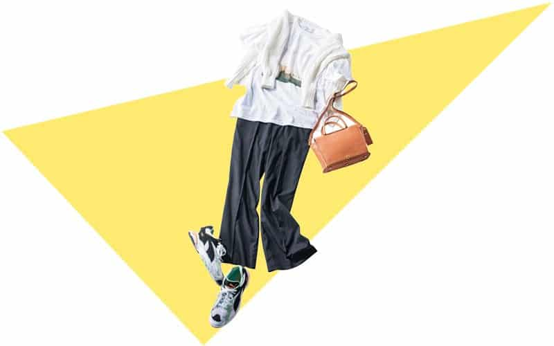 センタープレスのキレイ目パンツは足元に外しのスニーカーで【今日の着回しDiary】