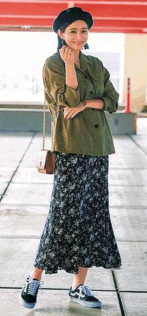 旬のナロースカートは、花柄を選