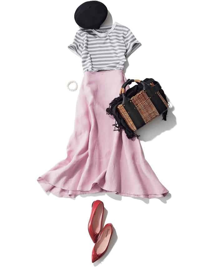 キレイ色スカートには、あえてグ