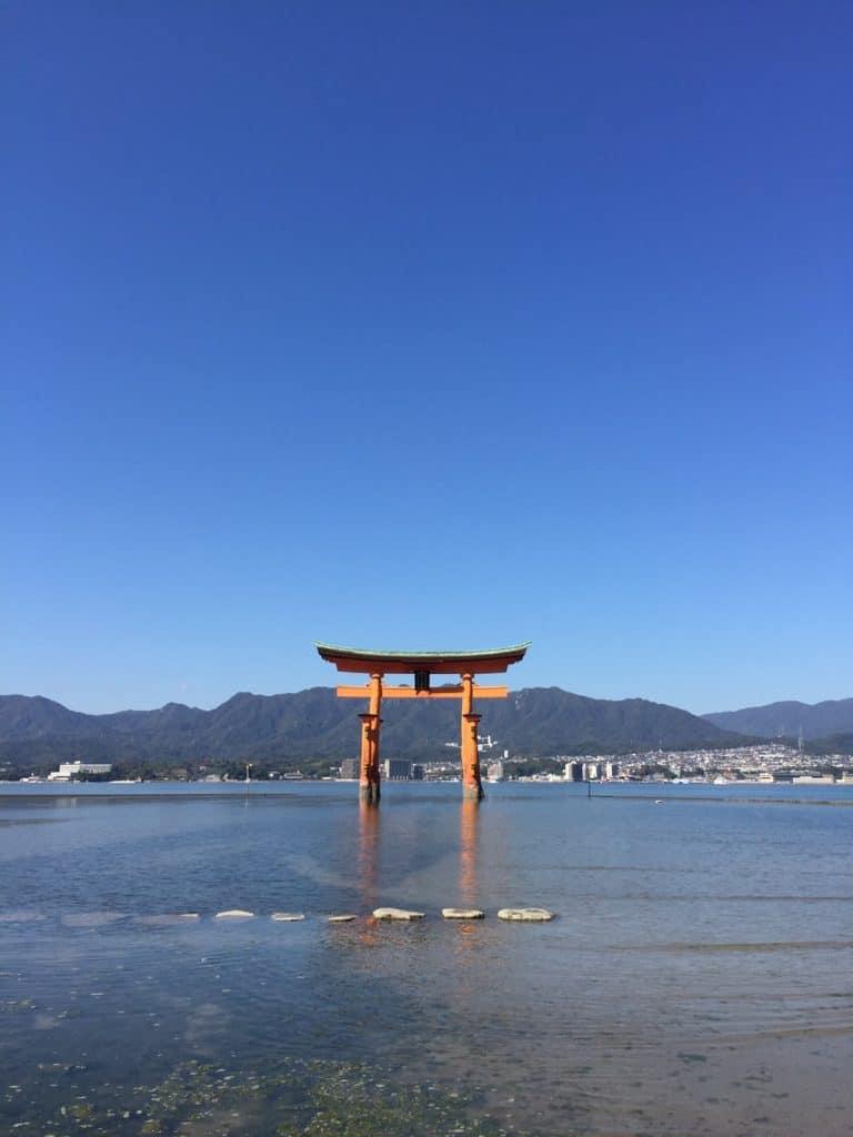 海に浮かぶ大鳥居や海上社殿が神