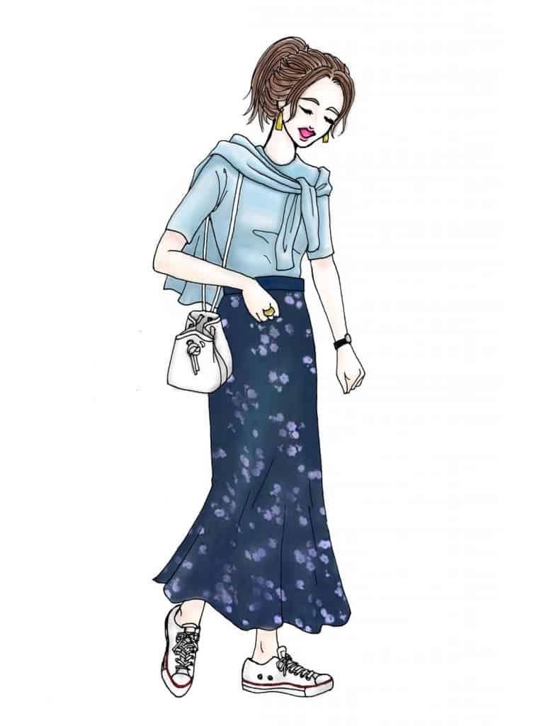 「ツインニット×花柄スカートの