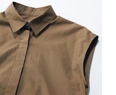 小ぶりなシャツ衿とフレンチスリ
