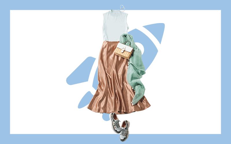 華やかサテンスカートでキレイめ通勤スタイル【今日の着回しDiary】