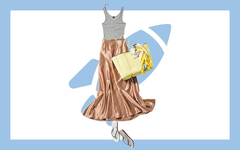 ラグジュアリーなサテンスカートはビーサンで抜け感を【今日の着回しDiary】