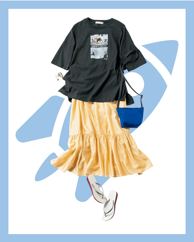 ボリューミーな夏ワンピはTシャツをONしてロンスカ風に【今日の着回しDiary】